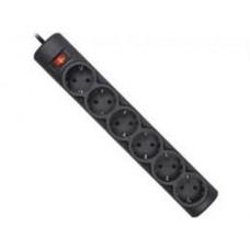 Сетевой фильтр Defender DFS 153 - 3.0 м., 6 розеток, Черный