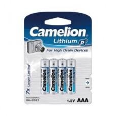 Батарейка Camelion AAA  FR03-BP4, Lithium P7, 1.5V